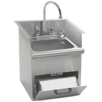 Eagle Group HWB-T Hand Wash Sink with T&S Gooseneck Faucet, Built In Towel Dispenser, Soap Dispenser, and Basket Drain