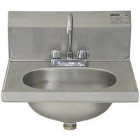 Eagle Group HSAD-10-F 16 1/2 inch x 18 7/8 inch Hand Sink with Gooseneck Faucet and Basket Drain