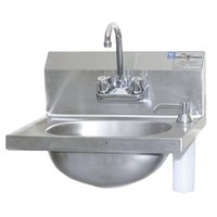 Eagle Group HSA-10-F-DS-MG MicroGard 14 3/4 inch x 18 7/8 inch Hand Sink with Gooseneck Faucet, Deck Mount Soap Dispenser, and Basket Drain