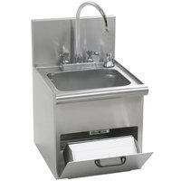 Eagle Group HWC-T Hand Wash Sink with T&S Gooseneck Faucet, Built In Towel Dispenser, Soap Dispenser, and Basket Drain