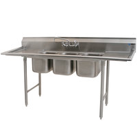 Eagle Group 310-10-3-18 Three Compartment Stainless Steel Commercial Sink with Two Drainboards - 72 inch