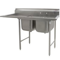 Eagle Group 412-16-2-18 Two 16 inch Bowl Stainless Steel Commercial Compartment Sink with 18 inch Drainboard