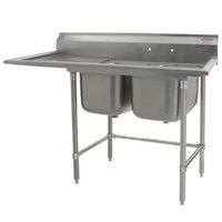 Eagle Group S14-20-2-18-SL Two 20 inch x 20 inch Bowl Stainless Steel Fabricated Compartment Sink with 18 inch Drainboard