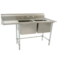 Eagle Group S16-20-2-18 Two 20 inch x 20 inch Bowl Stainless Steel Fabricated Compartment Sink with 18 inch Drainboard