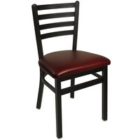 BFM Seating 2160CBUV-SB Lima Sand Black Steel Side Chair with 2 inch Burgundy Vinyl Seat