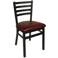 BFM Seating 2160CBUV-SB Lima Sand Black Steel Side Chair with 2 inch Burgundy Vinyl Seat
