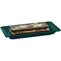 Tablecraft CW2100HGNS Hunter Green with White Speckle 18 inch x 9 inch Cast Aluminum Small Rectangle Platter