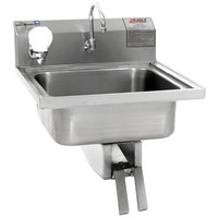 Eagle Group W1916 Stainless Steel Wall Mount Hand Sink with Knee Pedal Faucet