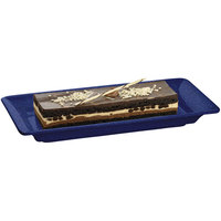 Tablecraft CW2100BS Blue Speckle 18 inch x 9 inch Cast Aluminum Small Rectangle Platter
