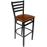 BFM Seating 2160BLBV-SB Lima Sand Black Steel Bar Height Chair with 2 inch Light Brown Vinyl Seat