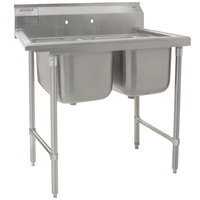 Eagle Group 414-24-2 31 57 1/2 inch x 31 3/4 inch Two Bowl Stainless Steel Commercial Compartment Sink