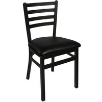 BFM Seating 2160CBLV-SB Lima Sand Black Steel Side Chair with 2 inch Black Vinyl Seat