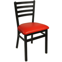 BFM Seating 2160CRDV-SB Lima Sand Black Steel Side Chair with 2 inch Red Vinyl Seat
