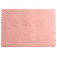 Choice 10 inch x 14 inch Dusty Rose Colored Paper Placemat with Scalloped Edge   - 1000/Case