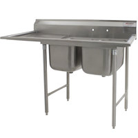 Eagle Group 414-16-2-24 62 5/8 inch x 27 1/2 inch Two Bowl Stainless Steel Commercial Compartment Sink with Drainboard