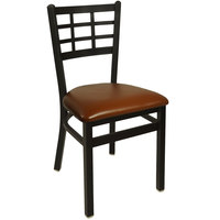 BFM Seating 2163CLBV-SB Marietta Sand Black Steel Side Chair with 2 inch Light Brown Vinyl Seat