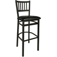 BFM Seating 2090BBLV-SB Troy Sand Black Steel Bar Height Chair with 2 inch Black Vinyl Seat