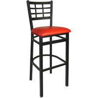 BFM Seating 2163BRDV-SB Marietta Sand Black Steel Bar Height Chair with 2 inch Red Vinyl Seat