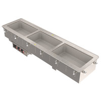 Vollrath 3664920 Modular Drop In Three Compartment Short Side Hot Food Well with Infinite Controls and Manifold Drain - 208/240V, 3000W