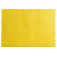 Choice 10 inch x 14 inch Gold Colored Paper Placemat with Scalloped Edge   - 1000/Case