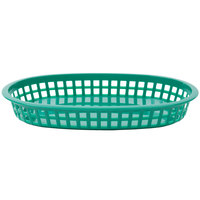 10 3/4 inch x 7 inch x 1 1/2 inch Green Oval Plastic Fast Food Basket - 12/Pack
