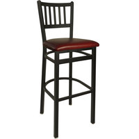 BFM Seating 2090BBUV-SB Troy Sand Black Steel Bar Height Chair with 2 inch Burgundy Vinyl Seat
