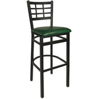 BFM Seating 2163BGNV-SB Marietta Sand Black Steel Bar Height Chair with 2 inch Green Vinyl Seat