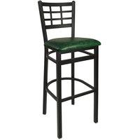 BFM Seating 2163BGNV-SB Marietta Sand Black Steel Bar Height Chair with 2 inch Green Vinyl Seat