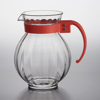GET P-4091 90 oz. Customizable Tahiti Clear Plastic Pitcher with Rio Orange Handle
