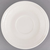 5 3/8 inch Ivory (American White) Embossed Rim China Saucer - 36/Case