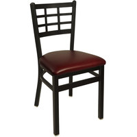 BFM Seating 2163CBUV-SB Marietta Sand Black Steel Side Chair with 2 inch Burgundy Vinyl Seat