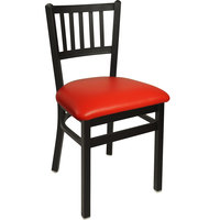 BFM Seating 2090CRDV-SB Troy Sand Black Steel Side Chair with 2 inch Red Vinyl Seat