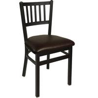 BFM Seating 2090CDBV-SB Troy Sand Black Steel Side Chair with 2 inch Dark Brown Vinyl Seat