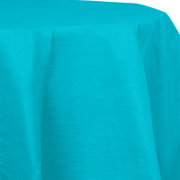 Creative Converting 923522 82 inch Bermuda Blue OctyRound Tissue / Poly Table Cover - 12/Case