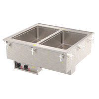 Vollrath 3639950 Modular Drop In Two Compartment Hot Food Well with Infinite Controls and Manifold Drain - 120V, 1250W