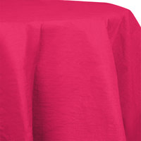 Creative Converting 923277 82 inch Hot Magenta Pink OctyRound Tissue / Poly Table Cover - 12/Case