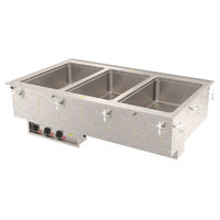 Vollrath 3640451 Modular Drop In Three Compartment Hot Food Well with Infinite Controls and Manifold Drain - 120V, 3000W