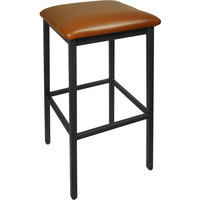BFM Seating 2510BLBV-SB Trent Sand Black Steel Barstool with 2 inch Light Brown Vinyl Seat