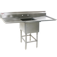 Eagle Group FN2020-1-24-14/3 One 20 inch x 20 inch Bowl Stainless Steel Spec-Master Commercial Compartment Sink with Two 24 inch Drainboards