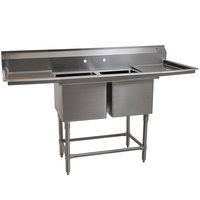 Eagle Group FN2032-2-18-14/3 Two 20 inch x 16 inch Bowl Stainless Steel Spec-Master Commercial Compartment Sink with Two 18 inch Drainboards