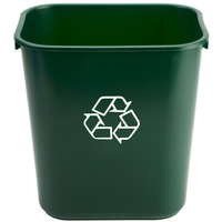 Continental 1358-2 13.6 Qt. / 3 Gallon Green Rectangular Recycling Wastebasket / Trash Can