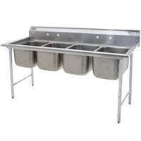 Eagle Group 314-24-4 Four Compartment Stainless Steel Commercial Sink without Drainboards - 109 1/2 inch