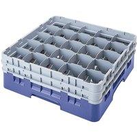 Cambro 25S958168 Camrack Customizable 10 1/8 inch High Customizable Blue 25 Compartment Glass Rack