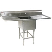 Eagle Group FN2820-1-24-14/3 One 28 inch x 20 inch Bowl Stainless Steel Spec-Master Commercial Compartment Sink with Two 24 inch Drainboards