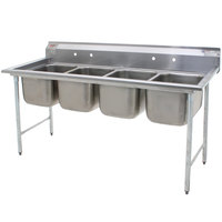 Eagle Group 314-18-4 Four Compartment Stainless Steel Commercial Sink without Drainboards - 85 1/2 inch