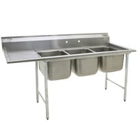 Eagle Group 412-24-3-18 Three 24 inch Bowl Stainless Steel Commercial Compartment Sink with 18 inch Drainboard
