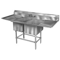 Eagle Group FN2032-2-18-14/3 Two 20 inch x 16 inch Bowl Stainless Steel Spec-Master Commercial Compartment Sink with 18 inch Drainboard
