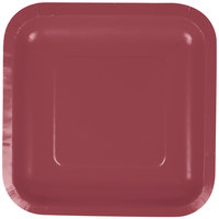 Creative Converting 453122 7 inch Burgundy Square Paper Plate - 180/Case