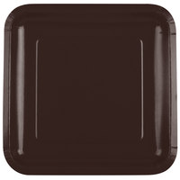 Creative Converting 463038 9 inch Chocolate Brown Square Paper Plate - 180/Case