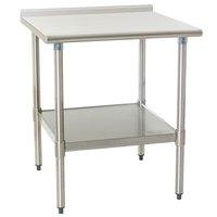 "Eagle Group UT3036SEB 30"" x 36"" Stainless Steel Work Table with Undershelf and 1 1/2"" Backsplash"